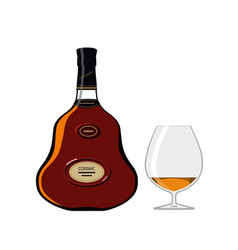 bottle of cognac with glass isolated on white vector image