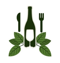 Bottle wine and goblet with leaves and cutlery vector