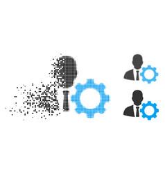 Broken pixelated halftone serviceman icon vector