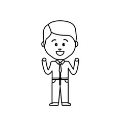 Businessman line cartoon face happy expression vector