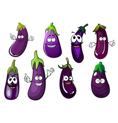 Cartoon violet eggplants or aubergines vegetables vector image