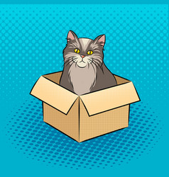 Cat in box pop art vector