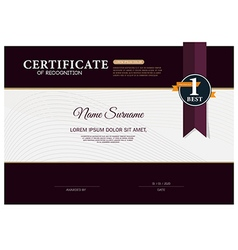Certificate OF RECOGNITION frame design template vector image