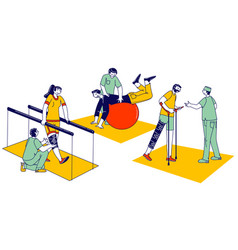 Characters engaged adaptive physical education vector