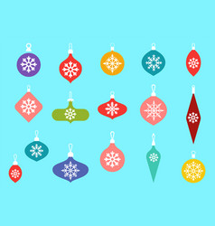 christmas baubles hanging ornaments hand drawn vector image