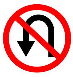 circular single white red and black no u-turn vector image