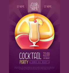 Cocktail disco party poster grainy texture vector