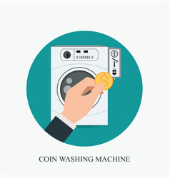 Coin washing machines with integrated payment vector