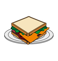 color image cartoon bread sandwich in white dish vector image