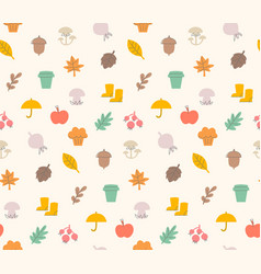 Colorful autumn seamless pattern with seasonal vector