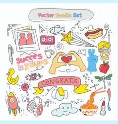 colorful doodle set vector image