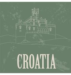 Croatia landmarks Retro styled image vector