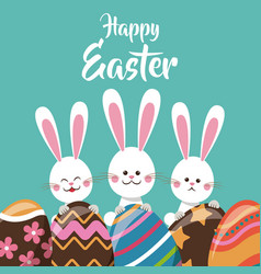 Cute bunnies with egg ornament happy easter vector