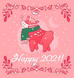 Cute ox character make a wish - greeting card 2021 vector