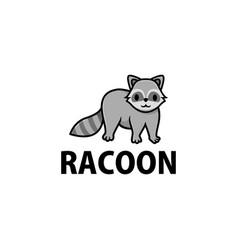 cute racoon cartoon logo icon vector image