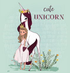 cute unicorn with princess vector image