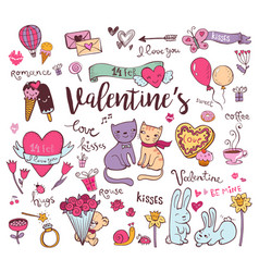 cute valentine doodles vector image