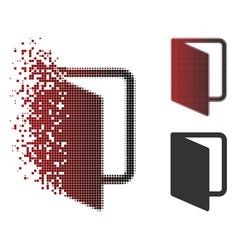 Dispersed pixel halftone open door icon vector