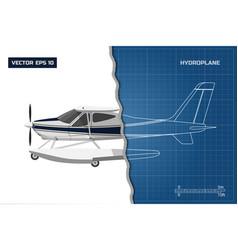 Engineering blueprint of plane side view vector