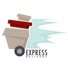 express delivery boxes or parcels on wheels food vector image