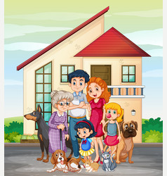 Family member in front of house vector