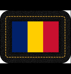 Flag of romania icon on black leather backdrop vector