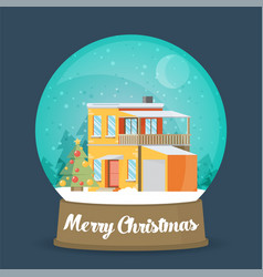 Flat christmas snow globe christmas snow globe vector