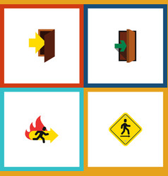 flat icon emergency set of entry fire exit vector image