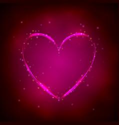 glowing pink heart on dark background vector image