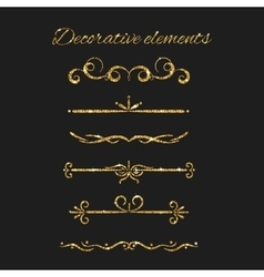 Gold text dividers set Ornamental decorative vector