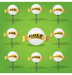 Golf ball and banner design elements vector image
