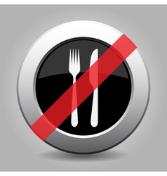 Gray chrome button - no cutlery fork and knife vector