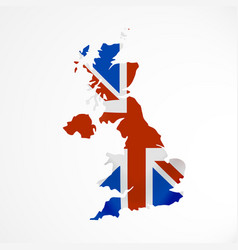 great britain flag in form map united kingdom vector image