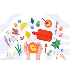 Handmade cosmetics ingredients top view vector