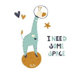 Happy astronaut giraffe in a spacesuit and helmet vector