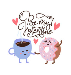 happy cute smiling donut and coffee paper cup vector image