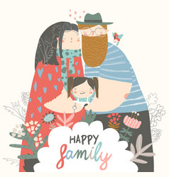 happy family father mother and daughter parents vector image