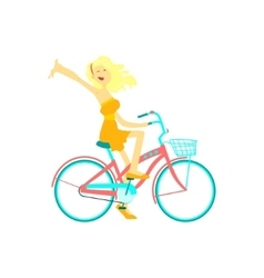 Happy Girl Riding Bicycle vector