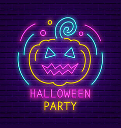 happy halloween party neon sign bright banner vector image