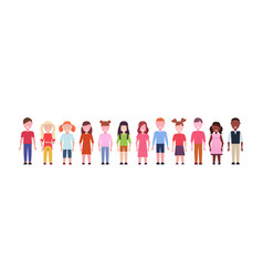 happy mix race girls and boys standing together vector image