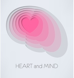 Heart and mind vector image