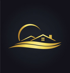 Home beach resort gold icon logo vector