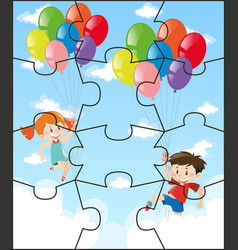 jigsaw pieces with children flying balloons vector image