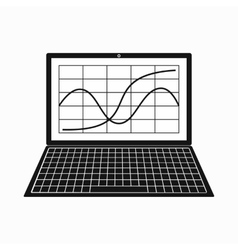 Laptop with business graph icon simple style vector image