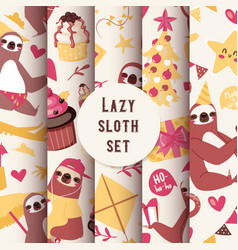 Layzy sloth seamless pattern vector