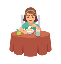 Little girl eating smiling hungry toddler sits vector
