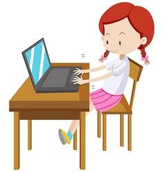 Little girl working on computer vector image