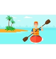 Man riding in canoe vector