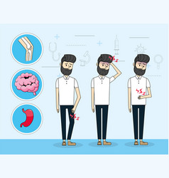 Man with illness prevention control diagnosis vector
