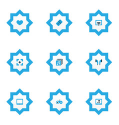 Media icons colored set with full screen favorite vector